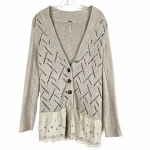 Free People Open Knit Cardigan Lace Sweater XS